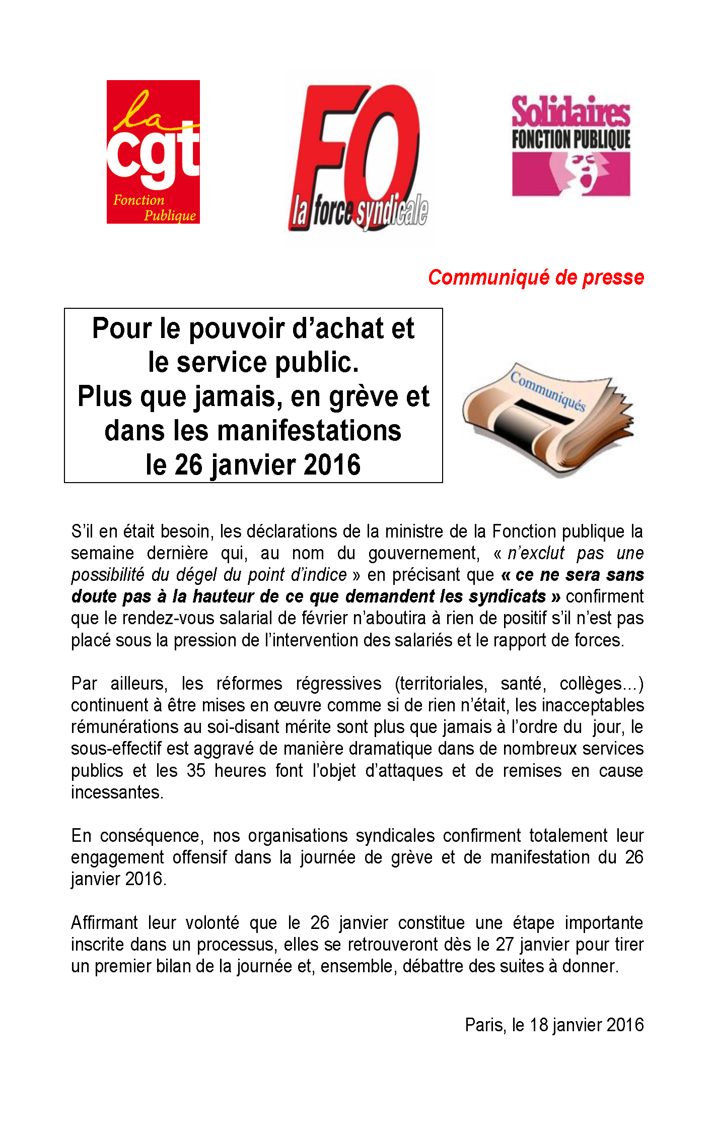 2016-01-18 Déclaration commune FO CGT SOLIDAIRES