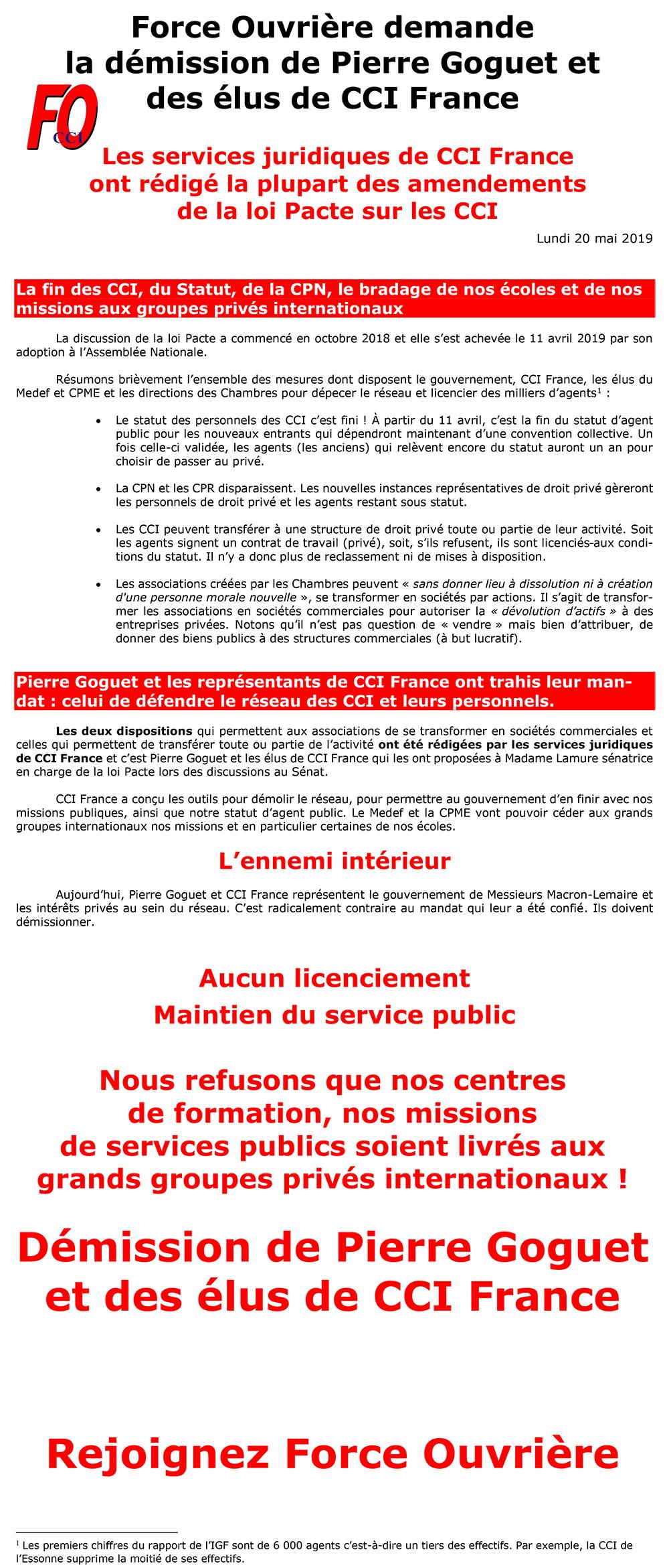 Démission de Pierre Goguet et des élus de CCI France !